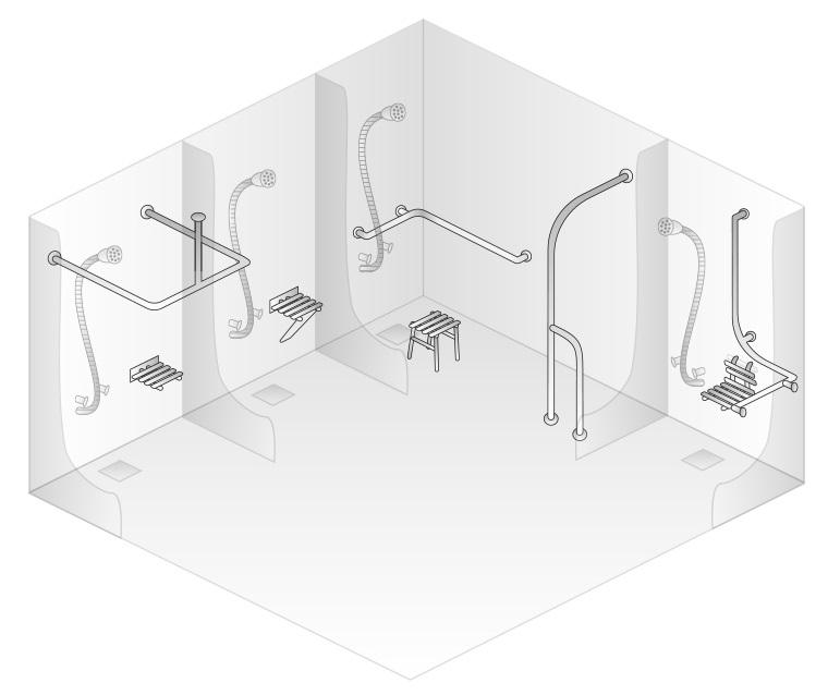 Využití madel ve sprchách