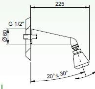 Schéma - SP 1 sprchové ramínko - průtok 9 l/min.