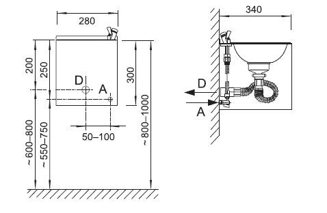 Schéma - AFO 01 závěsné nerezové pítko (pitná fontánka)