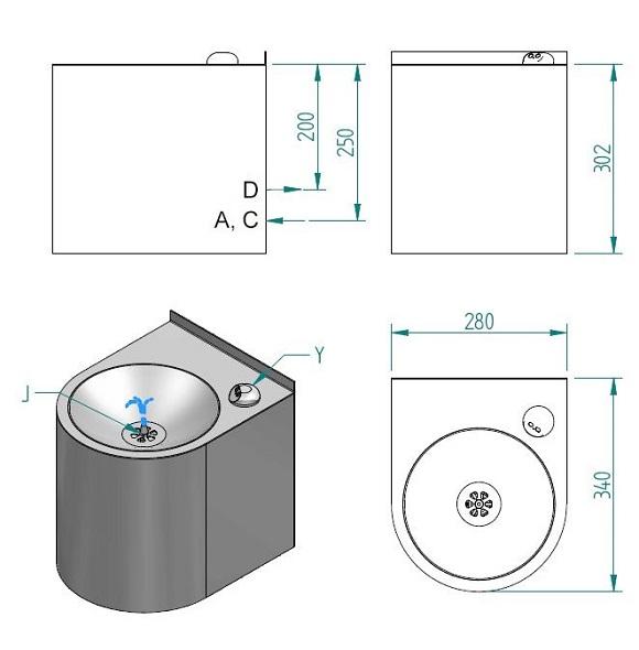 Schéma - AFO 01.Y závěsná nerezová pitná fontánka ovládaná senzorem