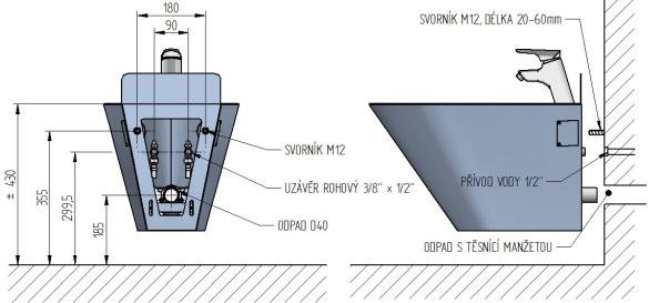 Schéma - AUB 01 nerezový bidet