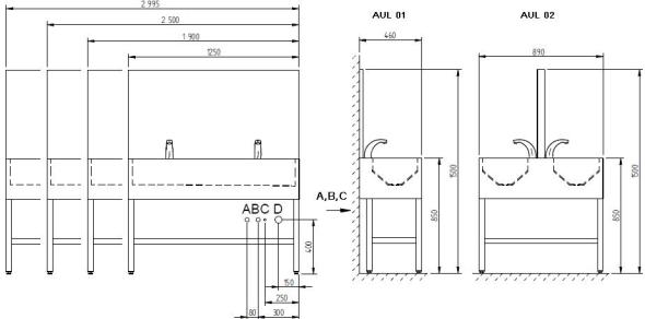 Schéma - AUL 01, AUL 02 nerezová (automatický) umývací žlab se zády