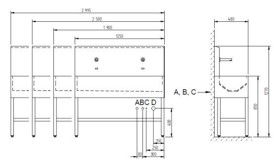 Schéma - AUL 03 nerezový automatický umývací žlab (závěsný nebo na postavení)