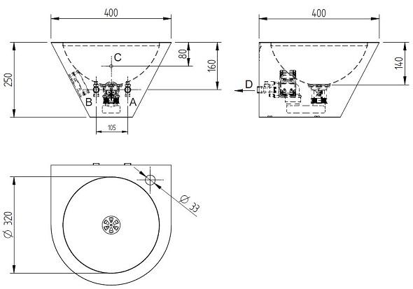 Schéma - AUM 033 nerezové, závěsné, kónické umyvadlo