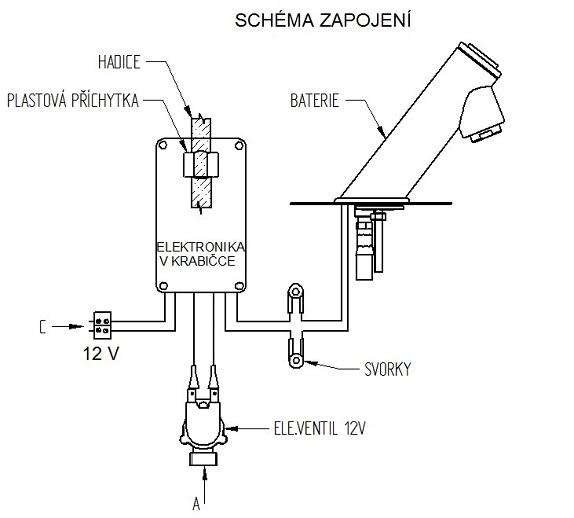 Schéma - AUM 18P nerezová piezo stojánková baterie
