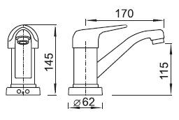 Schéma - AUM 2, AUM 2K automatická umyvadlová dřezová baterie