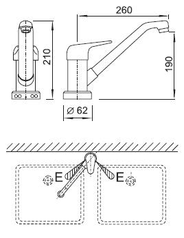 Schéma - AUM 7 automatická dvojdřezová baterie