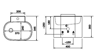 Schéma - AUM 05 (automatické) závěsné nerezové umyvadlo