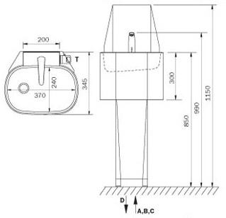 Schéma - AUM 06 (automatické) stojanové nerezové umyvadlo