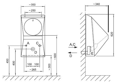 Schéma - AUP 02 nerezový pisoár s automatickým inteligentním (IQ) splachovačem
