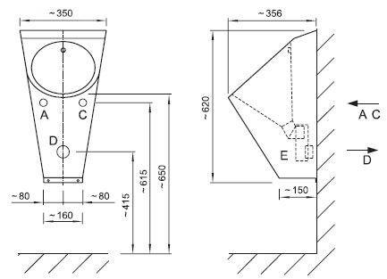 Schéma - AUP 03 nerezový pisoár s automatickým inteligentním (IQ) splachovačem