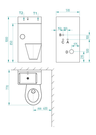 Minimal recommended dimensions for installation and requirements for setting up construction (frontal view to wall) - <b>BSK 02.KP</b>