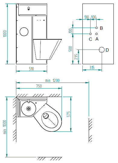 Minimal recommended dimensions for installation and requirements for setting up construction (frontal view to wall) - <b>BSK 02.UP</b>