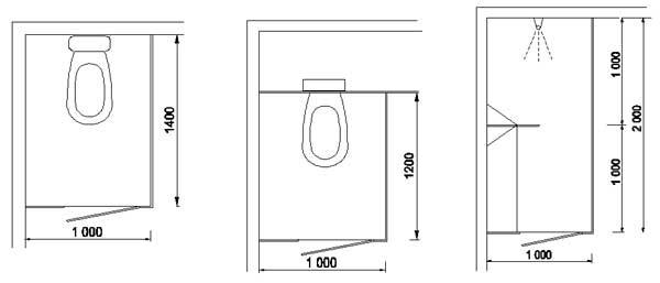 Příklady možného provedení kabinky pro WC a sprchu