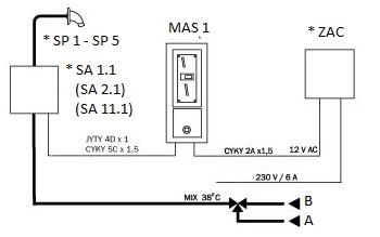 Схема подклучения однoй воды с предварительно подготовленой температурой