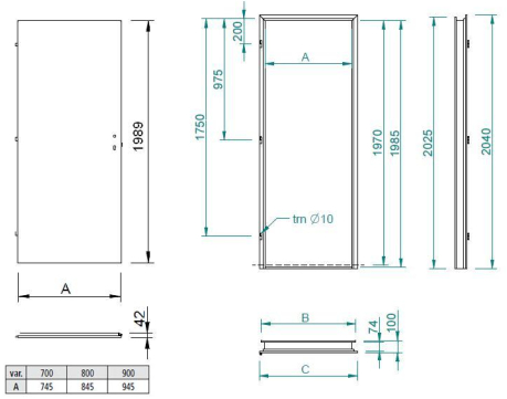 Scheme of stainless steel door NDI with doorframe NZI
