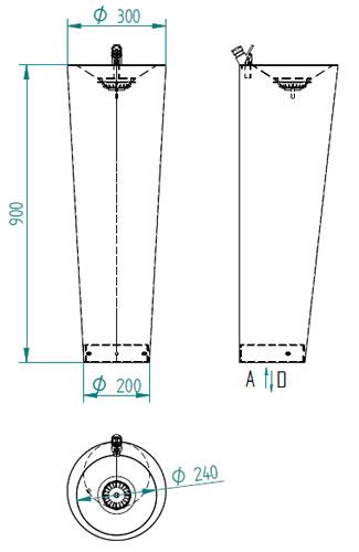 Schéma - AFO 03 designová nerezová pitná fontána (pítko) na postavení do prostoru