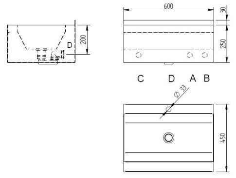Schéma - AUM 030 (automatické) nerezové umyvadlo