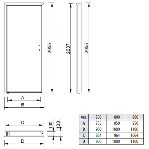 Scheme of stainless steel door NDE with doorframe NZE