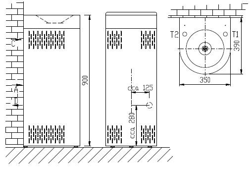 Schéma - AFO 01.SC nerezová pitná fontánka (pítko) s chlazením - na postavení ke stěně