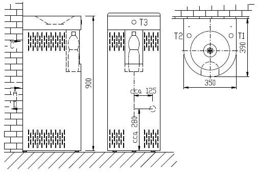 Schéma - AFO 01.SCL nerezová pitná fontánka (pítko) s chlazením a výdejem vody do láhve - na postavení ke stěně