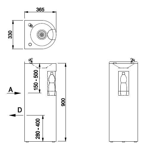 Schéma - AFO 01.SL nerezová pitná fontánka (pítko) s výdejem vody do láhve - na postavení ke stěně