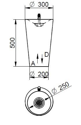 Schéma - AFO 03 D nerezová pitná fontánka (pítko) pro děti