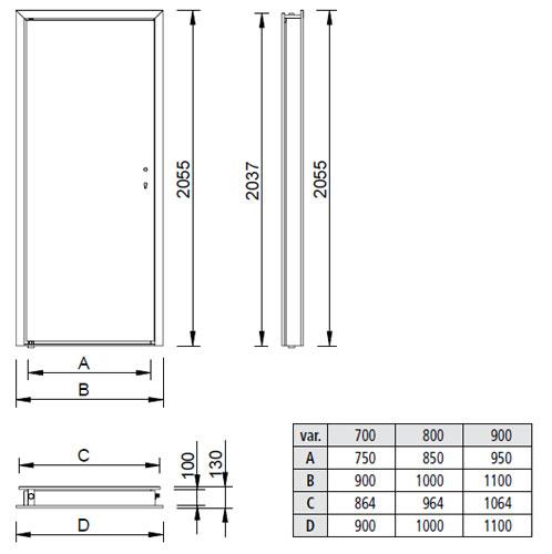 Schéma nerezových zárubní NZE vrátane nerezových dverí NDE