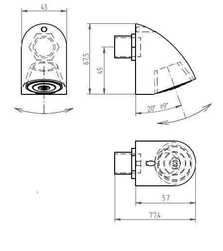 Schéma - SP 5 sprchové ramínko naklápěcí - průtok 12 l/min - ANTIVANDAL