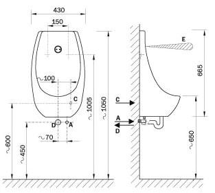 Pisoár rozměry