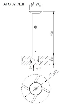 Schéma - AFO 02 nerezové pítko (pitná fontána) na postavení do prostoru (i venkovní)