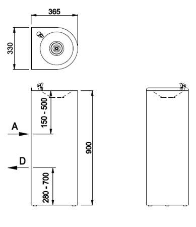 Schéma - AFO 01.S nerezová pitná fontána (pítko) na postavení ke stěně