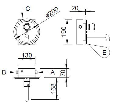 Schéma - AUM 13 nástěnná vestavná automatická baterie se směšovacím nebo termostatickým ventilem