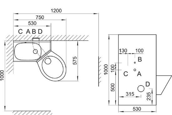 Empfohlene Mindestabmessungen für die Installationsstelle und die erforderliche Montagefreiheit – <B>AUSFÜHRUNG SCHRÄGES KLOSETT RECHTS</B>